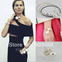 2014 New women's big Simulated Pearl Collar Bib statement necklace big pear bangle bracelet, big pearl ring, pearl jewelry set