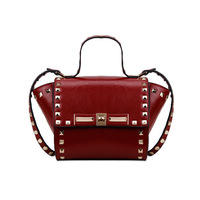 2014 new rockstud  women's genuine leather handbag rivet portable one shoulder cross-body bag small women messenger bag bolsas