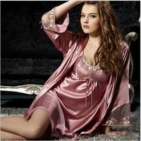 2014 New fashion Sexy Silk robe costume Full Slips (Vest+Slip) Lace Dress Sleepwear 2colors V-collar M-XXXL size Fee shipping