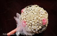 High quality wedding bride holding flowers,white and pink pearl holding flower,diameter 20,brooch holding flowers free shipping