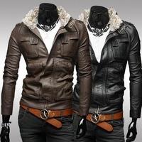 2014 new arrive Fashion fur men's jackets for men stereo pocket short slim leather coat male outwear leather jacket