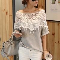 women clothing 2014 Fashion Tops Batwing Sleeve Shirt Women Crochet Cape Collar Casual Blouse Gray Sweet Lace Cutout Shirt