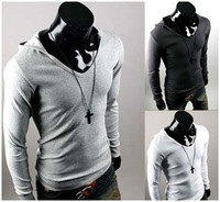 Free Shipping Mens New 2014 Hooddies Long Sleeve Outerwear T Shirt Dress Coat Mens Casual Sweatshirt Jacket 4 color M~XXL