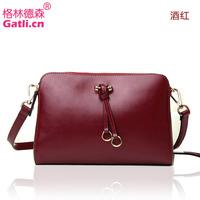 2014 new leather bag gentlewomen vintage small bag double zipper genuine leather shoulder bag cross-body women's handbag