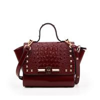 2014 new rockstud wax luxury crocodile pattern rivet genuine leather women's handbag fashion cross-body messenger bag bolsas