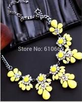 2014 Fashion Women Bib Choker Necklace Fluorescence Yellow Crystal Flower Women Statement Necklace party lovers jewelry gift