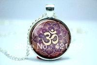 10pcs/lot Om Necklace, Namaste Yoga Jewelry, Lotus Zen Pendant Glass Cabochon Necklace