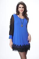 plus size clothing one-piece dress o-neck lace long-sleeve basic shirt