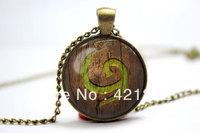 10pcs/lot Legend of Zelda Ocarina of Time Kokiri Emblem Deku shield inspired glass cabochon dome pendant necklace