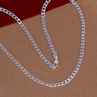 Promotion price,Fashion Jewelry,925 silver plated 4MM 30 inches men's Chain Necklace,Wholesale 925 silver Jewelry