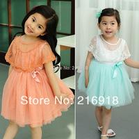 Children's clothing female child summer 2014 lace cape multi-layer gauze child one-piece dress princess dress