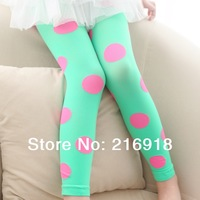 Children's clothing summer 2014 neon candy color big polka dot baby legging child ankle length trousers
