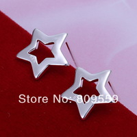 925  silver plated Empty stars ear butyl pendant Earring  ,factory Lowest Wholesale 2014 NEW 925 silver earrings
