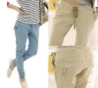 New women/lady cargo harem pants elactic waist straight plus size skinny stripe pencil sweatpants zipper doco khaki baggy sexy