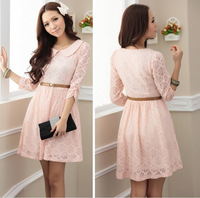 2014 free shipping The sweet elegant lady flower print lace temperament doll collar Slim Sleeve lace mini Dress