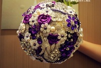 High quality wedding bride holding flowers,purple holding flower,diameter 20,brooch holding flowers free shipping