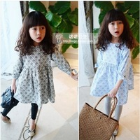 2014 Spring children clothing wholesale Pleasant baby  fresh girl child o-neck long-sleeve dress princess dress   Free shipping
