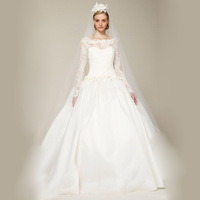 High quality 2013 long-sleeve lace tube top fashion cutout royal section of bridal wedding dress