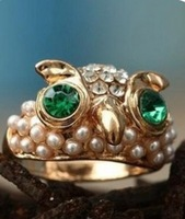 New ! Free Shipping Fashion Platinum Plated Owl Ring With RhinestoneJewelry For Sale D C R-008
