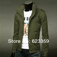 free shipping 2014 new arrive Fashion Men's Jacket Safari Jacket Army Green for men Jackets Coat Cotton Plus winter Size M-XXXL
