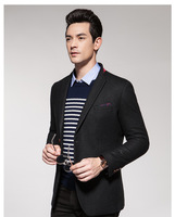 Men's pure color wool suit single west cultivate one's morality fashion leisure men's suit jacke