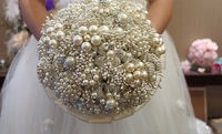 High quality wedding bride holding flowers,beige pearl holding flower,diameter 20,brooch holding flowers free shipping