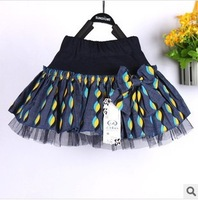 Free shipping 2014 New Style Fashion Summer Girls Skirt Denim Skirts A-line Miniskirt Party Pleated Skirt