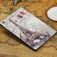 Free Shipping High Quanlity For ipad 5 Retro Eiffel Tower Design Smart Stand PU Leather Case For iPad Air