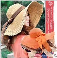 Hot Sale Large Brim Hat Fashion Bow Ribbon Women's Large Brim Strawhat Sun-Shading Cap In Summer Stylish Beach Cap For Women