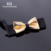 Fourthomme Luxury  High quality mini fourthomme gold PU inlaying male the banquet vintage bow tie