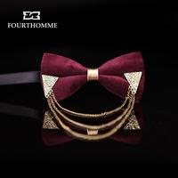 Fourthomme Luxury  gothic punk claretred velvet vintage metal inlaying fashion the bridegroom bow tie