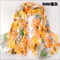 2014 New Fashion Chiffon Scarf Arrival! Free Shipping, Long Women Scarves With Sunflowersprinting For Spring And Autumn!!