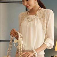 2014 new autumn summer women loose chiffon shirt women blusas femininas large size blouse fashion 2014 blouses & shirts lace top