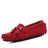 Free Shipping US5-9  suede Leather Casual buckle slip on flat loafer tie Fringe  ballerina Women ballet drive shoes