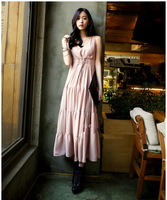 2014 New Summer Korean Style Women Bohemian Long Knitted Cotton Beach Holiday V-neck Dress Free Shipping LJ809