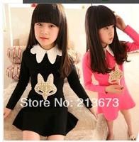 Girls spring 2014 new fox head girls princess skirt Korean children's long-sleeved dress girls beautiful dress