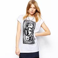 2014 NewThree Titan printing white round neck short sleeve T-shirt haoudoyi Fashion OM