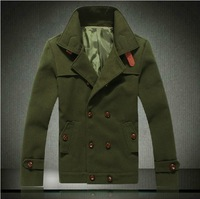 2014 spring men's clothing jacket fashion woolen coat plus size male  turn-down collar jacket wool woolen outerwear jacket 5XL