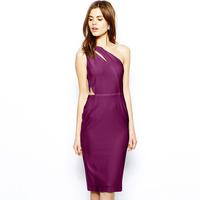 2014 New Fashion Slim elastic jacquard knitted one shoulder irregular haoudoyi Women one-piece dress Clothing Free shipping