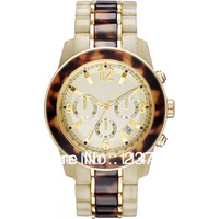 2014 best seller 5764 Ladies Tortoise and Horn Acrylic Band Chronograph Watch MK5764 + original box