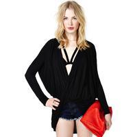 2014 New Spring flip fold cross deep V long-sleeved t-shirt female loose money Fashion Free Shipping OM