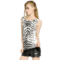 2014 New Fashion Tiger printed round neck sleeveless T-shirts mercerized cotton women t shirt haoduoyi Free shipping