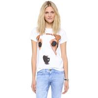 2014 Free shipping Dog abstract pattern print msgm letter print lady tshirt o-neck short-sleeve women t-shirt female haoduoyi