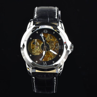 2014  Fashion Brand Automatic Wrist Leather Men Mechanical Hand Wind,Men's Leather Strap Watches