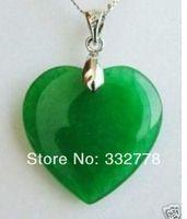 Fashion Jewelry Green Jade Heart Shape Silver emerald Pendant /necklace