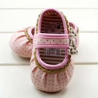 Baby shoe pink-black dot bow Baby Shoes soft sole baby shoe Girls Warm