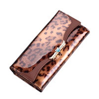 New 2014 Woman Fashion Leopard Print Genuine Leather Long Design Vintage Wallet Female Card Holder Cowhide Purse Free Shipping