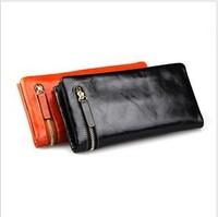 New arrive vintage women wallet zipper long design genuine leather womens wallets real leather wallets