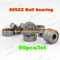 50pcs /lot 605ZZ 605ZZ 5X14X5mm 5*14*5mm 605-2Z metal shielded steel miniature ball bearing