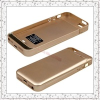 Luxury Gold High Quality  Real Capacity 2200mAh External Backup Battery Charger Case for iPhone 5 5S Rechargeable Power Station